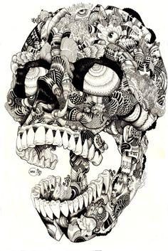 blackpaintgallery:    Black Paint Gallery - Skull Illustration by Iain MacArthur - found on Behance.net