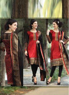 Elegant Red Raw Silk Salwaar Suit