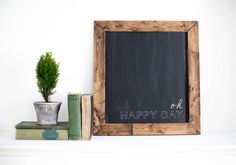 DIY Magnetic Chalkboard Note: Add a bottom ledge for eraser, hooks for keys under the ledge