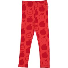 Red Apple Leggings Monochromatic Kids Clothes by Maxomorra. Organic Cotton Kids Clothes. Offered in Canada by Modern Rascals.