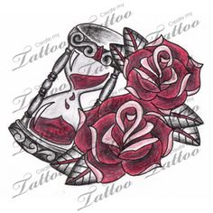 Marketplace Tattoo Antique Hourglass with Roses Tattoo #3085 | CreateMyTattoo.com