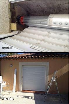 Avant/Après: remplacement axe motorisé SOMFY + tablier/ Votre agence Help Confort Aix-en-Provence intervient pour toutes vos urgences et tous vos dépannages en volet roulant!