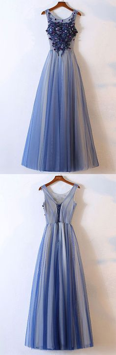Blue Prom Dress,tulle Prom Dress, round neck Prom Dresses,long prom dresses, tulle evening dress,Appliqued Prom Dress,A Line Prom Gowns,Prom Dresses