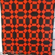 FARMHOUSE c 1900 Amish Mennonite Monkey Wrench Antique QUILT Red Black Wool