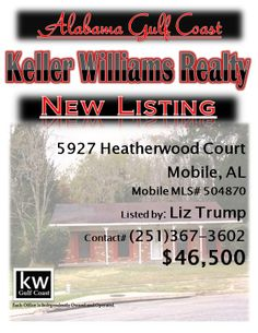 5927 Heatherwood Court, Mobile, AL...MLS# 504870...$46,500...3 Bedroom, 2 Bath...Brick Home At End Of Quiet Cul-De-Sac In Carlisle Subdivision.Beautiful Fenced Back Yard,great Property,nice Neighbors,close To Moffett Rd And Off Howells Ferry. Qualifies For $100 Down With Specific Loan, To Be Sold As Is, Does Need Some Handyman Touches But Will Be A Wonderful Haven. Equal Housing Opportunity, Government-Owned. May Be Subject To Al. Right Of Redemption. Please contact Liz Trump at 251-367-360...