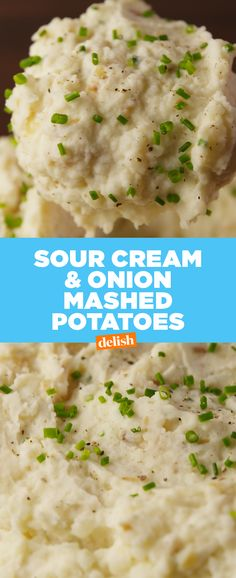 Sour Cream & Onion Mashed Potatoes make regular potatoes seem so boring. Get the recipe at Delish.com. #recipe #easyrecipes #potato #mashedpotatoes #onion #sidedish #sourcream