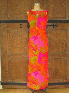 d6d3c07ce6a5 Psychedelic HawaiianTropical Floral Print Maxi Dress by Casual Ceire, Vintage  1960's Hawaiian Fashion, Floral