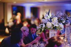 #weddingreception #reception #wedding #bluelights #whiteflowers #wedding #weddings #bluewedding #decor #fancy #floral #centerpieces