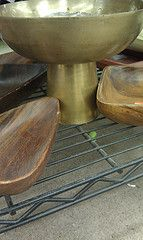 brass pedestal bowl & wood bowls - great to hold jewelry - #thrift #Goodwill #Arizona