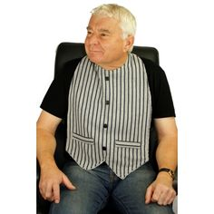 Made with a soft cotton top fabric & backed with thick white towelling fabric (100% cotton) & designed to look like a gentlemans waistcoat with two decorative pockets & 4 smart black buttons.   Suitable to be worn either on top