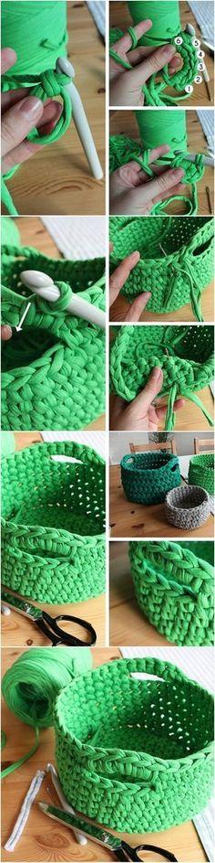 DIY tutorial: Crochet a T-Shirt Yarn Basket via Up-cycle an old t-short into this stylish basket! Crochet Diy, Crochet Home, Love Crochet, Crochet Crafts, Yarn Crafts, Crochet Storage, Yarn Projects, Crochet Projects, Tshirt Garn