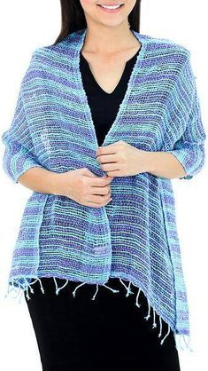Spring Breeze Handmade 100% Cotton Loose Weave Shawl in Blue and Purple. Shawl fashions. I'm an affiliate marketer. When you click on a link or buy from the retailer, I earn a commission.