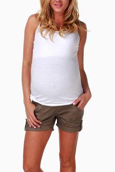 Mocha-Flap-Pocket-Maternity-Shorts #maternity #fashion
