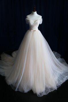Elegant Off-shoulder Tulle Pleat Wedding Gowns,Sweep Train V Neck Wedding Dress,Cheap Wedding Dress,Bridesmaid Dress,High Quality Wedding Dress,Customized Made.