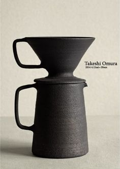 Ceramic Pour-Over Coffee Pot, Handmade ceramic coffee dripper and pitcher/mug combo with matte glaze and earthy charcoal black color. Morning coffee made simple with stunning, easy to use, hand thrown pour over set. Ceramic Pottery, Ceramic Art, Keramik Design, Japanese Ceramics, Wabi Sabi, Coffee Shop, Stoneware, Earthenware, Teapot