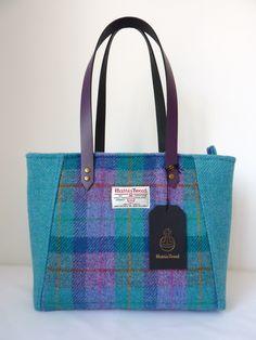 Purple Jade and Pink Check Harris Tweed Handbag with Purple Leather Straps
