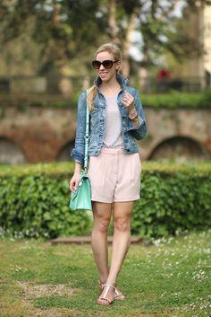 Wonderland: J. Crew cropped denim jacket, blush pink crepe shorts, Lola Cruz rose gold T-strap sandals, Brahmin mint 'Ophelia' bag, denim jacket spring outfit