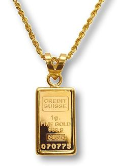 Credit Suisse 1G Gold Bar Necklace World Gold Day Gold Pendants For Men, 14 Karat Gold Chain, Gold Bullion Bars, Mens Gold Bracelets, Gold Money, Gold Coin Necklace, Ancient Jewelry, Gold Coins, Creations