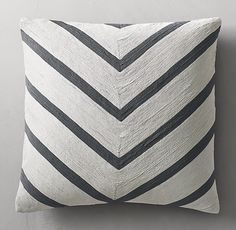 RH's Geometric Soutache Linen Chevron Pillow Cover - Square:The intricate art of soutache embroidery goes high-definition in bold, duo-tone geometric patterns. Shaped and sewn by hand into narrow concentric rows, the finely worked soutache cording yields lush, dimensional texture.