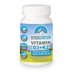Berg Nutrition K2 MK7 200 µg + Vitamin D3 - 10.000 IE - 365 vegane Tabletten - hochdosiert - 10 Tagesdosis (nur eine Tablette / 10 Tage - entspricht 1.000 I.E pro Tag) Vitamin D3, Gluten, Berg, Coconut Oil, Tips, Food, 10 Days, Advice, Meals