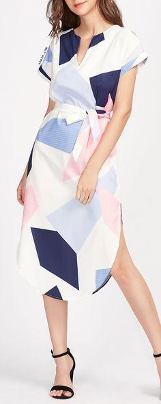 Rolled Sleeve Slit Side Curved Hem Self Tie Dress