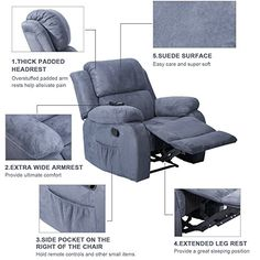 Merax Power Massage Reclining Chair with Heat and Massage Heated Vibrating Suede Massage Recliner Reclining Sofa, Recliner, Massage, Armchair, Furniture, Home Decor, Chair, Sofa Chair, Decoration Home
