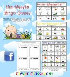Insects and Mini Beasts Bingo Games - PDF file8 page, printable game. Now revised and also includes, instruction page, record sheet, answer she...