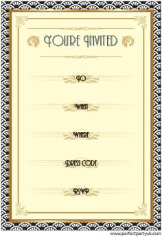 1920s printable party invite. Get the free, full-sized printable at http://www.perfectpartyuk.com/theme-guides/1920s/free-printables/