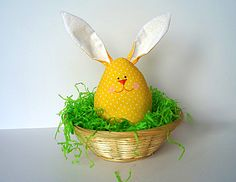 Easter Egg Bunny Plush Yellow Polka dot ornament, home decoration, Soft Toy 100% safe for babies