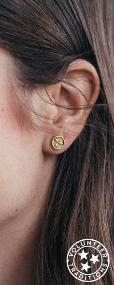 Gold Tristar Earrings - Tennessee Jewelry Handmade in the USA Ear Rings