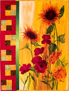 quilt poppy sunflowers | wall hanging kit, Sunflowers and Poppies, Sunflower Showcase-The Pine ...