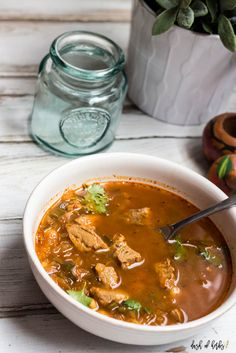 White Bean Pork Chili is an easy, quick dinner recipe that is only 6 SmartPoints on Weight Watchers.
