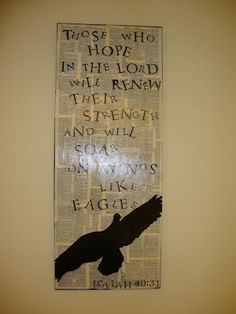 canvas board with Isaiah 40:31 and stenciled eagle= Vintage Grace- constancedenninger.blogspot.com --- home of Jessica
