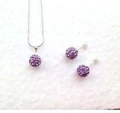 Tiara Shamballa Disco Ball Czech Crystal Rhinestone Earring & Necklace Set Silver 925 - LIGHT PURPLE