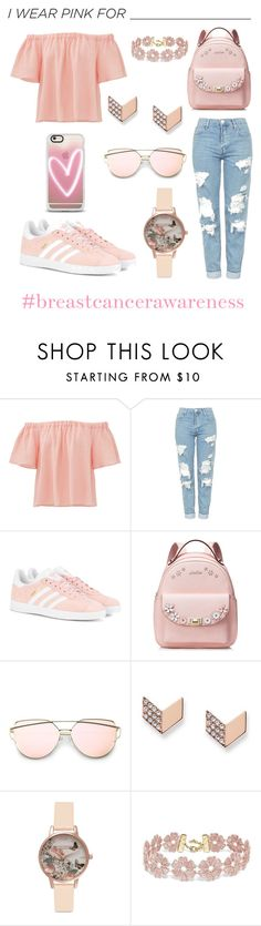 """I WEAR PINK FOR..."" by isabellaalorenn ❤ liked on Polyvore featuring Rebecca Taylor, Topshop, adidas Originals, FOSSIL, Olivia Burton, BaubleBar, Casetify and IWearPinkFor"