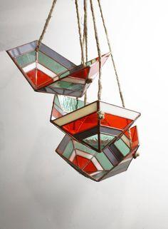Icosa Hanging Bowl set of 3 by BespokeGlassTile on Etsy
