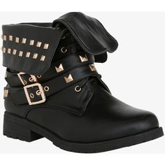 Studded Fold-Over Combat Ankle Boots (Wide Width) | Torrid ($29) ❤ liked on Polyvore