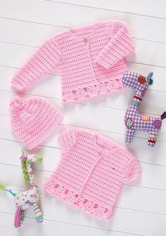 Crochet Cardigans & Hat in Stylecraft Wondersoft 4 ply - Pattern for p., Crochet Cardigans & Hat in Stylecraft Wondersoft 4 ply - Pattern for purchase. Crochet Baby Sweaters, Crochet Baby Cardigan, Crochet Baby Clothes, Baby Knitting, Baby Jumper, Bonnet Crochet, Crochet Yarn, Crochet Hooks, Crochet Girls