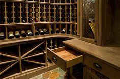 Custom Wine Cellar - Elegant Cedar finishing inside furniture-grade, wine cellar drawers Pleasant Ln., Glenview, Glenview Haus Photo Gallery, Chicago