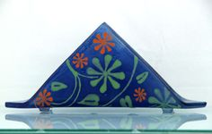 Fused glass  napkin holder  art nouveau Flowers by virtulyglass, $40.00