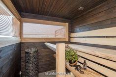 16 Villa Merengue - Sauna @ Loma-asuntomessut Kalajoella Finnish Sauna, Saunas, Finland, Blinds, Interior Decorating, Villa, Cottages, House, Future