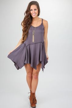 Must have, charcoal sundress with ruffle hemline! Spring perfection! Want, need, love! Repin!