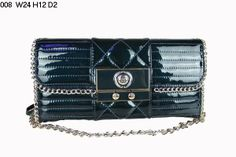 Chanel Clutch Bags 008 Blue Leather Gold Chain