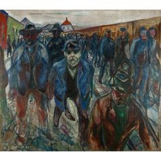 Workers On Their Way Home Canvas Art - Edvard Munch (36 x 54)
