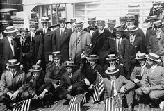 OLYMPICS: Photo shows American Olympic athletes aboard the Red Star Line ship Finland, which transported the US team to the 1912 Summer Olympic Games in Stockholm, Sweden. Not shown here are the women participants. Fanny Durack and Mina Wylie, are the gold and silver medallists in the Olympics first women's individual swimming event