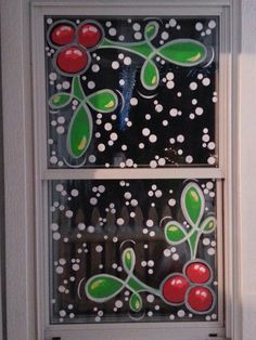 By Jannal: holly & snow holiday window painting :-)