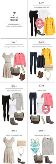 Here's my tips and suggestions on packing for 7 days in Ireland : The Perfect Pieces for a Versatile Honeymoon Wardrobe