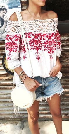 #fall #outfits women's white and red floral printed off-shoulder 3/4 sleeve shirt