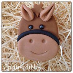 Cupcake de Fondant comestible Cookie Toppers caballo