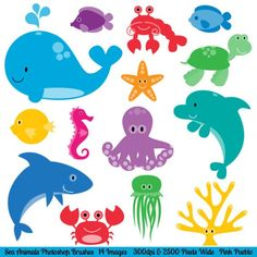 Sea Animals Clip Art Clipart Sea Creatures Clip Art by PinkPueblo
